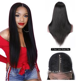 Remy fRont lace closuRe online shopping - T Part Lace Front Human Hair Wigs Brazilian Straight Lace Front Wig For Black Women Remy Hair Cheap Kim K Closure Lace Wig