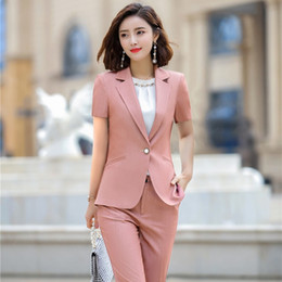 $enCountryForm.capitalKeyWord Australia - Summer Office Ladies Pink Blazer Women Jackets Short Sleeve Female Work Wear Clothes OL Styles