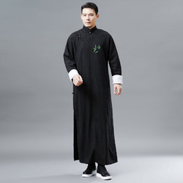 Traditional Suits Australia - Chinese ancient costume traditional performance stage wear male cheongsam long sleeve tang suit for mens national style men gown