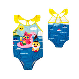 0c2ae55026820 Summer Swimsuit Cartoon Kids Baby Girls Boys 3-8yrs Big Child Baby Shark  Swimwear One-Piece Swim wear Bathing Suit baby kids Bathing Beach