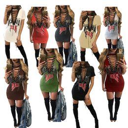 $enCountryForm.capitalKeyWord Australia - Free Ship 2019 Women Sexy Deep V-Neck Letter Print Bandage T-Shirt Dress Punk Style Mini Dresses Club Wear