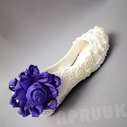 Discount small heels lady shoes - Wedges small low heel ladies girls lace purple flower shoes proms dress dinner party dancing princess wedding shoes woma