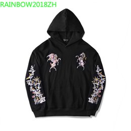 Belt Painting Australia - Chinese style exquisite hand embroidery, Pegasus flower painting, high-end men's hoodie ladies casual wear couple hoodies