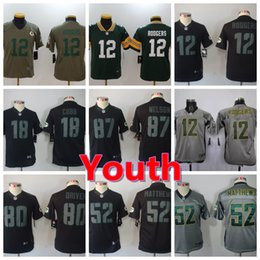 New Youth Green Bay Packers Boys Football Jersey 87 Jordy Nelson 52 Clay  Matthews 12 Aaron Rodgers Color Rush Stitched Kids Football Shirts d924ff501