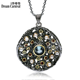 $enCountryForm.capitalKeyWord Australia - Dreamcarnival 1989 Hot Gothic Jewelry Black Gold Color Pendant Chain Necklace Women Mixed Cubic Zircon Synthetic Pearl Wp6532 J190531