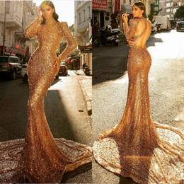 sexy back club pearls Australia - Gold Mermaid Evening Dresses High Collar Lace Sequins Pearls Long Sleeve Backless Prom Dress Sweep Train Sexy Red Carpet Gowns