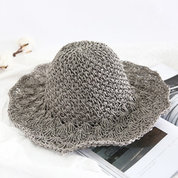 c8ba3870 Spring and summer crochet new straw hat ladies big hollow open sunshade  foldable big beach hat outdoor hat