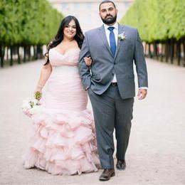 $enCountryForm.capitalKeyWord Australia - Plus Size Blush Pink Mermaid Wedding Dresses Beaded Belt Sweetheart Formal Bridal Gowns Cascading Ruffles Vestidos De Noiva