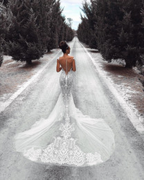 satin cowl neck wedding dresses UK - Mermaid Wedding Dresses Dramatic Boho Lace Wedding Dress Elegant Winter Beautiful Arabic Wedding Dress With Court Train Princess Bridal Gown