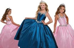 Toddler navy blue dress online shopping - 2020 Navy Blue Pink Halter Rhinestones Beads Pageant Dresses For Little Girls Taffeta Draped Party Dress Toddler First Communion Graduation