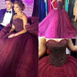 $enCountryForm.capitalKeyWord Australia - Bling Ball Gown Cheap Quinceanera Dresses Burgundy Crystal Beads Tulle Sweetheart Long Sweet 16 Cheap Birthday Party Prom Evening Gowns