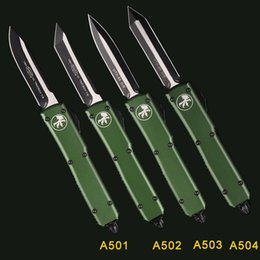 fold knives Australia - MT Automatic Knife MICOR KNIVES TECH DOUBLE action tactical KNIFE GREEN HANDLE BLACK COATING BLADE S35VN D2 Folding knifes pocket knifes