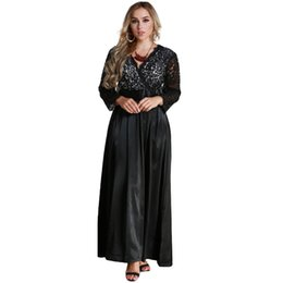 2019 New Fashion Sexy Women Plus Size Lace Long Sleeve Maxi Dress V Neck  Satin Waist Casual Party Evening Party Dress Gown Black f03e09a03950