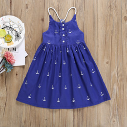 BaBy girl anchor clothing online shopping - Girls Blue Boat Anchor Printed Sling Dress Backless Summer Beach Dress Baby Clothes Girls Princess Party Dress Cotton Dresses