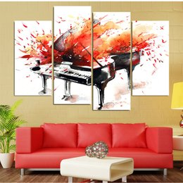 $enCountryForm.capitalKeyWord Australia - Poster Painting HD Wall Art 4 Piece Canvas Red Piano Modern Printing Pictures Modular Artwork Vintage Home Living Room Decoration