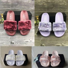 Faux Fur Booties Women Australia - Hot Sale-High Quality Leadcat Fenty Rihanna Faux Fur Slippers Women Indoor Sandals Girls Fashion Scuffs Pink Black White Grey Slides