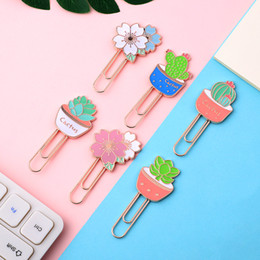 cute paper clips Australia - JIANWU 1PC Cute Cartoon cactus Metal bookmark creative Paper Clip Bookmarks For Books kawaii School supplies