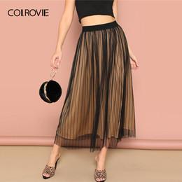 108e56d2efef Colrovie Black Elastic Waist Striped Mesh Overlay Elegant Women Long Skirt  2019 Korean Style Stretchy Office Ladies Skirts J190619