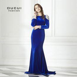 $enCountryForm.capitalKeyWord Australia - Royal Blue Handmade Beading Long Prom Dresses 2019 Full Sleeves V backless Abiye Fashion Formal Mermaid Evening Gowns