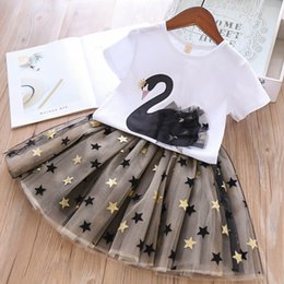 01868161a42b kids designer clothes girls swan outfits children top+Tutu lace star Skirts  2pcs set 2019 Summer fashion Boutique baby Clothing Sets C6496