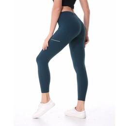 Toptan satış Toptan Yüksek Bel Kadınlar yoga pantolonları LU-02 Katı Spor Salonu Giyim Tozluklar Elastik Spor Lady Genel Tam tayt