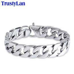 15mm handle online shopping - Trustylan Glossy l Stainless Steel Link Chain Bracelet Men mm Wide Men s Bracelets Bangles Handle Fashion Male Jewelry Y19051101