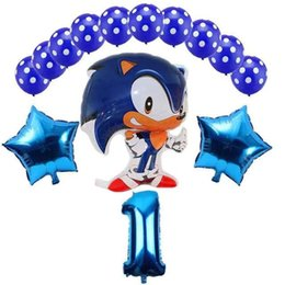 the balloon UK - 14pcs lot Sega Sonic the Hedgehog Super Hero Double Side Foil Balloon Boy Girl Brithday Party 32 inch number balloons decor