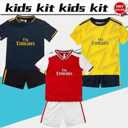 Kids football suits online shopping - 2020 Kids kit Gunner home soccer Jerseys Child suit away Gunner soccer Shirts boys third deep blue football uniforms shirt shorts