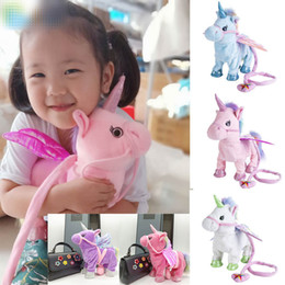 Discount music electronics - 35cm 1pc Electric Walking Unicorn 2019 Plush Toy Stuffed Animal Toy Electronic Music Unicorn Toy for Children Christmas