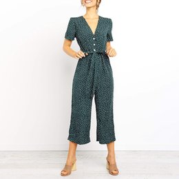 $enCountryForm.capitalKeyWord Australia - Womail Overalls For Women Casual Short Sleeve V Neck High Waisted Wide Playsuit Women 2019 Zomer Beach Jumpsuit Jun08