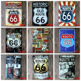 coffee iron decor Canada - ROUTE 66 Tin Sign Metal Plate Iron Painting Kids Room Wall Bar Coffee Home Art Craft Decor 30X20CM JK2006KD