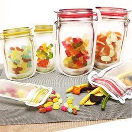 Stockage réutilisables nourriture Zipper Sacs Mason Jar Snacks Shaped Airtight Seal Food Saver Sacs étanches Sacs de cuisine Organisateur XD22297 en Solde