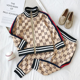 Wholesale military style jackets for sale – winter Kids Designer Clothing Sets New Luxury Print Tracksuits Fashion Letter Jackets Joggers Casual Sports Style Sweatshirt Boys Girls