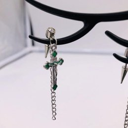 $enCountryForm.capitalKeyWord Australia - 2019 New Arrival Punk Style Anti-allergy Crystal Rhinestone Stainless Steel Cross Dangle Chain Stud Earrings for Men 5 colors E5815