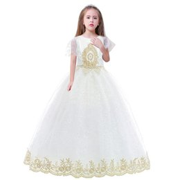 Wholesale short gauze wedding dress resale online – Goldenshield big children Flower girls dresses with tail lace flower gauze embroidery fashion and top style for wedding party wear