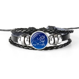 12 Wraps NZ - Women Men Bracelet Bangle 12 Constellations Zodiac Leo Time Gem Glass Cabochon Multilayer Leather Rope Beaded Wrap Cuff Jewelry Dropshipping