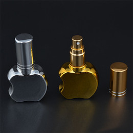 gold perfume bottle atomizer NZ - 100 X 13ML Apple Shape Portable Gold Silver Glass Perfume Bottle With Atomizer Empty Parfum Case With Spray For Travel Wholesale