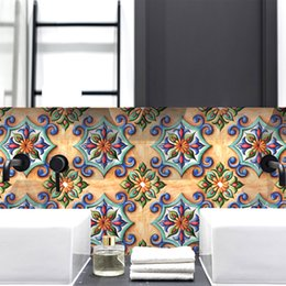 tile mural art Australia - Creative art retro flower tile stickers bathroom kitchen home renovation wall stickers DIY stitching self-adhesive wall stickers