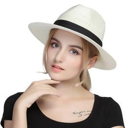 $enCountryForm.capitalKeyWord Australia - Summer Straw Floppy Wide Brim Women Panama Sun Hat For Elegant Lady Chapeu Feminino Fedora Cap Queen Sunbonnet Beach Sunhat