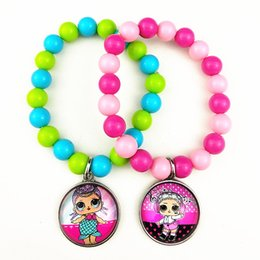 $enCountryForm.capitalKeyWord Australia - 24pcs New styles Cartoon doll colorful beads glass bracelets necklace keychain ring Earrings Jewelry series for girls