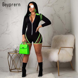 Hooded Jumpsuit Green Australia - Beyprern Fashion Zip Up Long Sleeve Mesh Panel Romper Sexy Neon Green Patchwork Skinny One Piece Short Jumpsuit Sproty Wears Y19060501