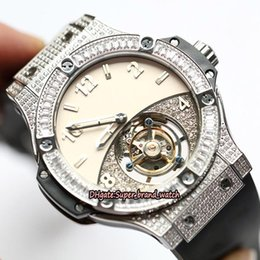 $enCountryForm.capitalKeyWord NZ - Top version BANG 44MM 305.pm.131.rx True Tourbillon Automatic Movement White Dial Mens Watch Silvery Diamonds Case Sapphire Sport Watches