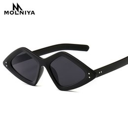 1b1548c276 Fashion Rivet Small Frame Sunglasses Women Stylish irregular Narrow Triangle  Rivet Sun Glasses Vintage Sun Shades SA44