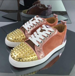 Color Leather Bags Australia - 2019 designer color matching velvet mesh leather sneakers calf leather casual lazy shoes luxury men and women large size with box dust bag