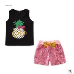 1788208b81864 Baby Girls Sequins 2 Piece Clothing Outfits Set 2019 Summer Kids Pineapple  Printed Vest Tops Bow Sequins Shorts Kids Toddler Girls Clothes