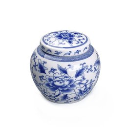 Tea Box Storage Australia - Drum Shape Blue&White Tea Storage Can Retro Ceramic Jars For Spices Mini Candy Container Tea Pot 10.9*9.3cm Box potes de cozinha