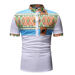 $enCountryForm.capitalKeyWord Australia - Henry Collar Polo Shirt Men's African Kente Elephant Style Print Cotton Top Striped Tee Short Sleeves Slim Fitted For Men White