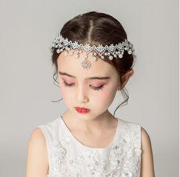$enCountryForm.capitalKeyWord Australia - Children Girl flower pageant crown girls lace Crochet princess headbands pearls rhinestones pendant party Kids hair accessories Y2219