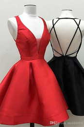 $enCountryForm.capitalKeyWord NZ - 2019 Real Photos Short Homecoming Dresses V Neck Open Back A Line Above Knee Length Satin Party Prom Gowns Vestidos De Fiesta Cheap