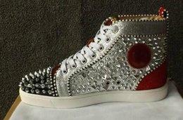 9a0fd5054745 Wholesale - `2019 Original Vogue Red Bottom Sneakers Men Shoes Luxury Print  Silver Pink Pik No Limit RARE Studs And Rhinestones Graffiti Cas